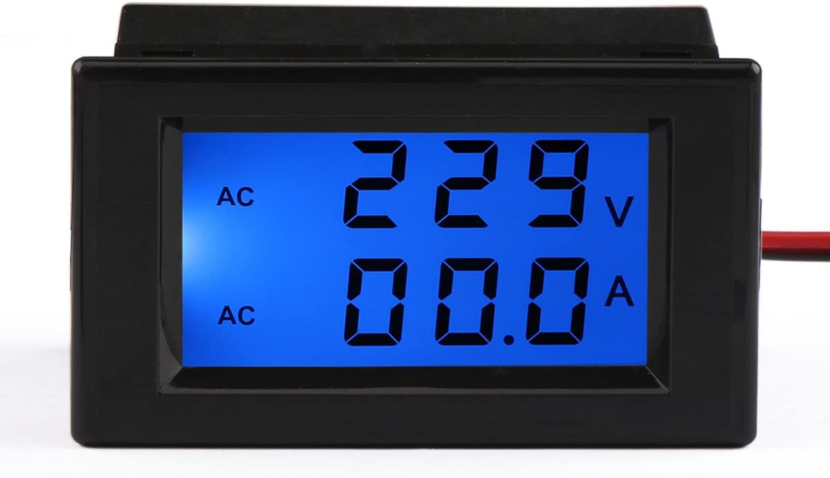 DROK/® Digital Voltmeter Ammeter AC 80-300V 100A Voltage Current Measure Sensor LCD Dual Display with Current Transformer CT