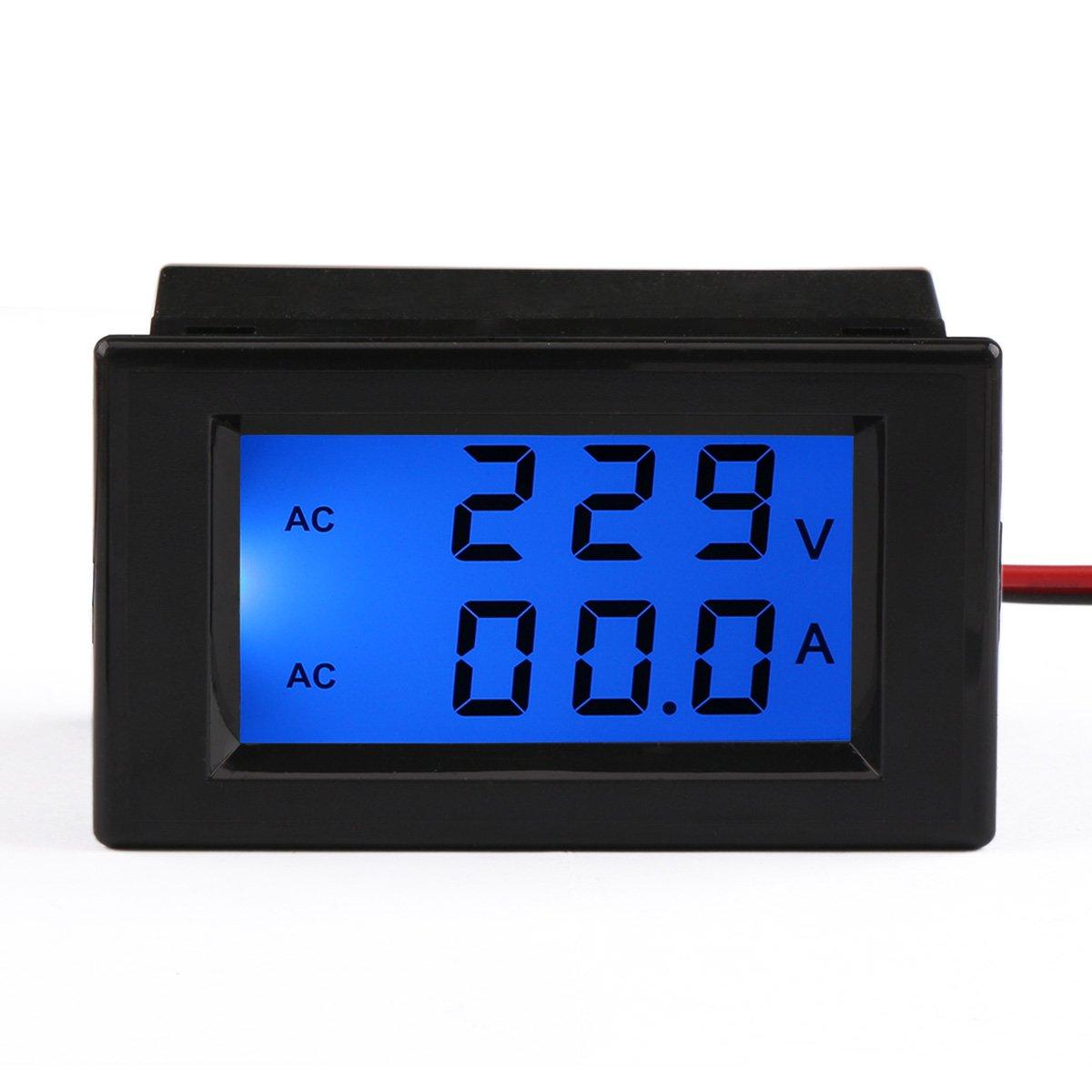 DROK® Digital Tensión Corriente multímetro AC V A Voltaje Amperaje Meter Volt