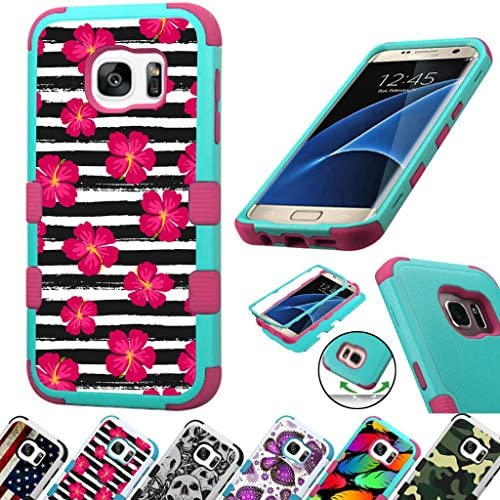 For Samsung Galaxy S7 Edge G935 Case 3-Layer Armor Hybrid Rugged Silicone Phone Cover FancyGuard (Stripe/Pink) Sales
