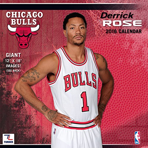 "Turner Chicago Bulls Derrick Rose 2016 Wall Calendar, Sept. 2015-December 2016, 12 x 12"" (8011776)"