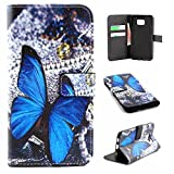 Galaxy S6 Edge Plus Case Wallet,IVY [Blue butterfly][Kickstand Flip Case][Card Slot][Cash Pockets][Magnetic Buckle] Premium PU Leathe Wallet Flip Case For Samsung Galaxy S6 Edge+ SM-G928