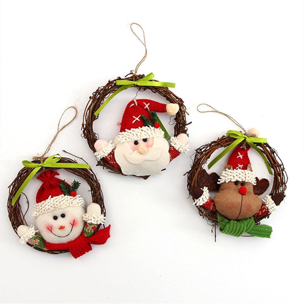 Kicode Christmas Tree Wreath Garland Hanging Decoration Pendants Xmas Festival Party Home Ornaments Decors Creative Plastic