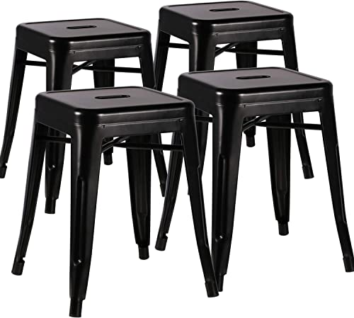 VECELO Metal Dining Chair 18 Stackable Indoor-Outdoor Counter Bar Stools with Industrial Style, Set of 4 – Black