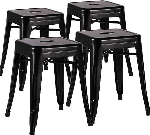 VECELO Metal Dining Chair 18 Stackable Indoor-Outdoor Counter Bar Stool