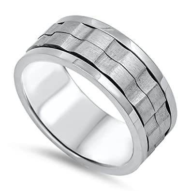 spinner mens wedding ring 316l stainless steel gear mechanic band size 8 stl40622 8 - Gear Wedding Ring