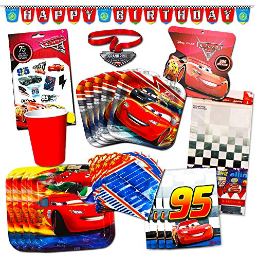 Disney Cars Party Supplies Ultimate Set (134 Pcs) -- Birthday Party Decorations, Party Favors, Plates, Cups, Napkins, Table Cover and More! -