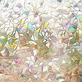 "Rabbitgoo 3D No Glue Static Decorative Films Glass Window Film Anti UV 17.7"" X 78.7"" (45 X 200cm)"