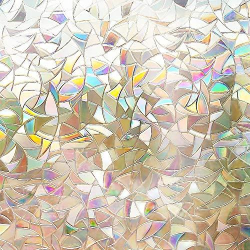 (Rabbitgoo 3D No Glue Static Decorative Films Glass Window Film Anti UV 17.7