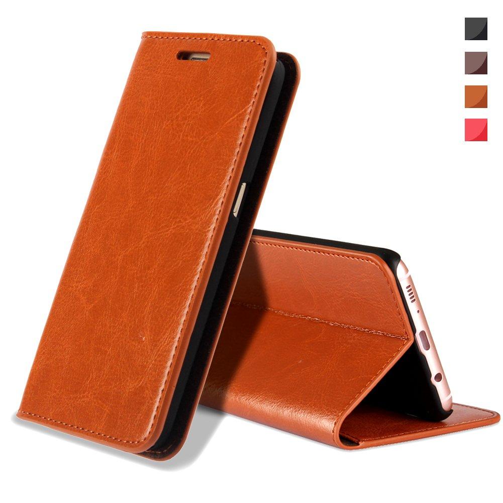 EATCYE Coque Galaxy S9 Plus,Housse Galaxy S9 Plus, Premium Étui [en Cuir Véritable] [Antichoc TPU] Cuir Housse à Rabat [Fermoir Magnétique] pour Samsung Galaxy S9 Plus (Marron) m2018416Factory20006