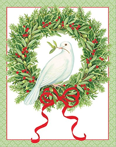 Entertaining with Caspari Peace Dove In Wreath Christmas Cards, Box of 16