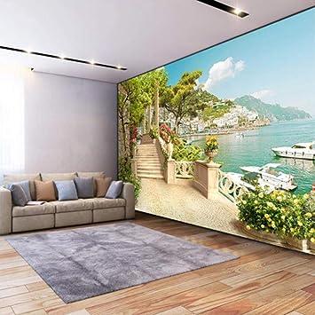 Mural Fotomurales 3D Papel Jardín Balcón Escaleras Vista Al Lago 400X280Cm Papel Pintado Great Art Póster Murales Foto Mural Pared Salón Dormitorio Despacho Decor: Amazon.es: Bricolaje y herramientas