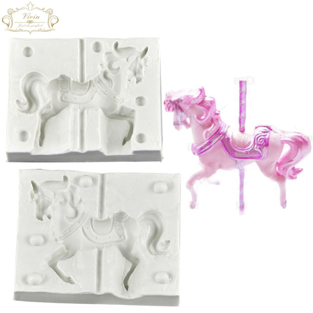 Vivin 3d Carousel Horse Silicone Fondant Mould Sugar Paste Cake Cupcake Design Mat Silicone Mould for Cake Decorating Cupcakes Sugarcraft Candies Make Whole Horse Small
