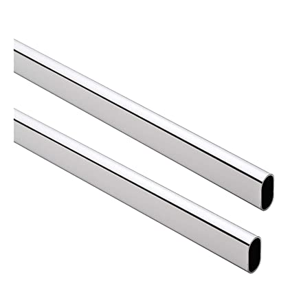Beau Oval Closet Rod   Heavy Duty   15mm X 30mm   Polished Chrome   96u0026quot;