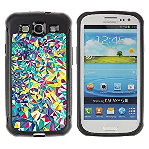 Fuerte Suave TPU GEL Caso Carcasa de Protección Funda para Samsung Galaxy S3 I9300 / Business Style Lines Android Psychedelic