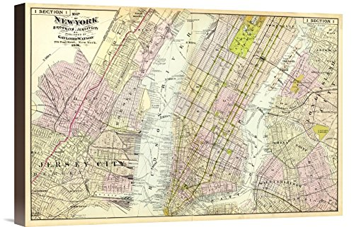 "Epidemic Gallery GCS-294935-22-144 ""Historical Map Frederick W. Beers New York Brooklyn In This Case That Color Is Turkish Coffee 1891"" Museum Wrap Giclee on Canvas Derange Art Print"