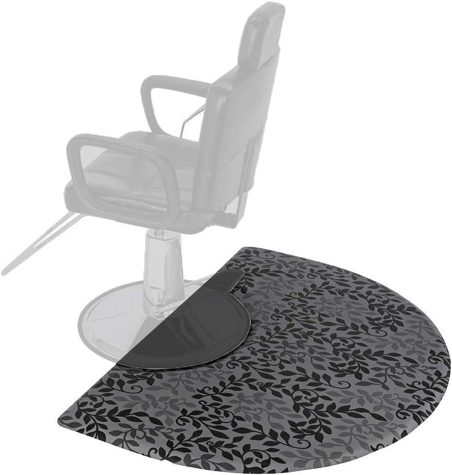 Mefeir 3' x 4' Semi Circle Salon Mat Anti Fatigue for Hair Stylist, 5/8'' Thick Standing Floor Matt Under Styling Chair, Anti-Slip Warterproof Beauty Barber Supplies,Leaf Lines Color: Kitchen & Dining