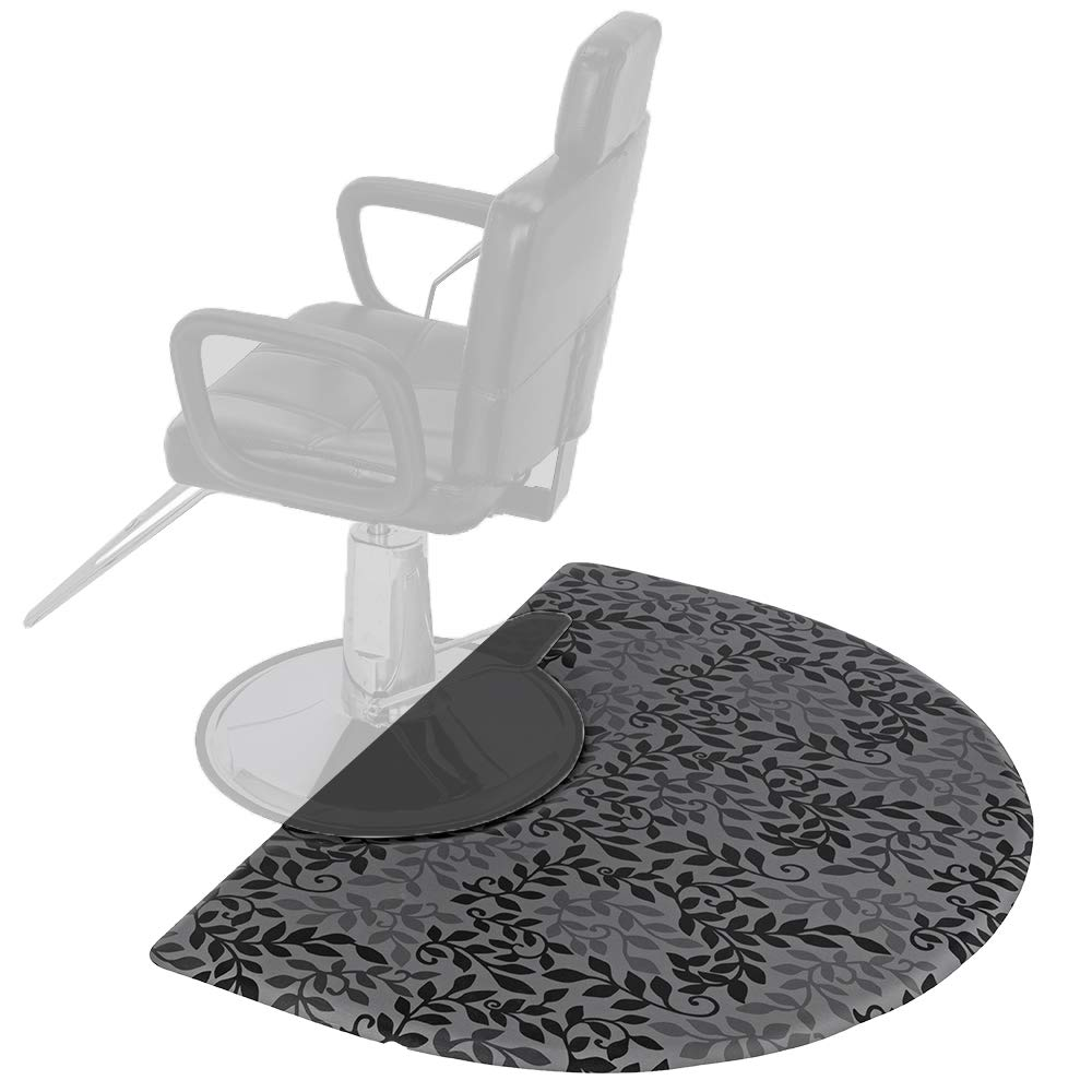 Mefeir 3' x 5' Semi Circle Salon Mat Anti Fatigue for Hair Stylist, 5/8'' Thick Standing Floor Matt Under Styling Chair, Anti-Slip Warterproof Beauty Barber Supplies,Leaf Lines Color