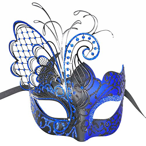 CCUFO Masquerade Venetian Luxury Face Mask for Women Metal Sparkling Butterfly | Party, Ballroom, Fancy Prom, Mardi Gras, Wedding, Wall Decoration (Black/Blue Butterfly)]()