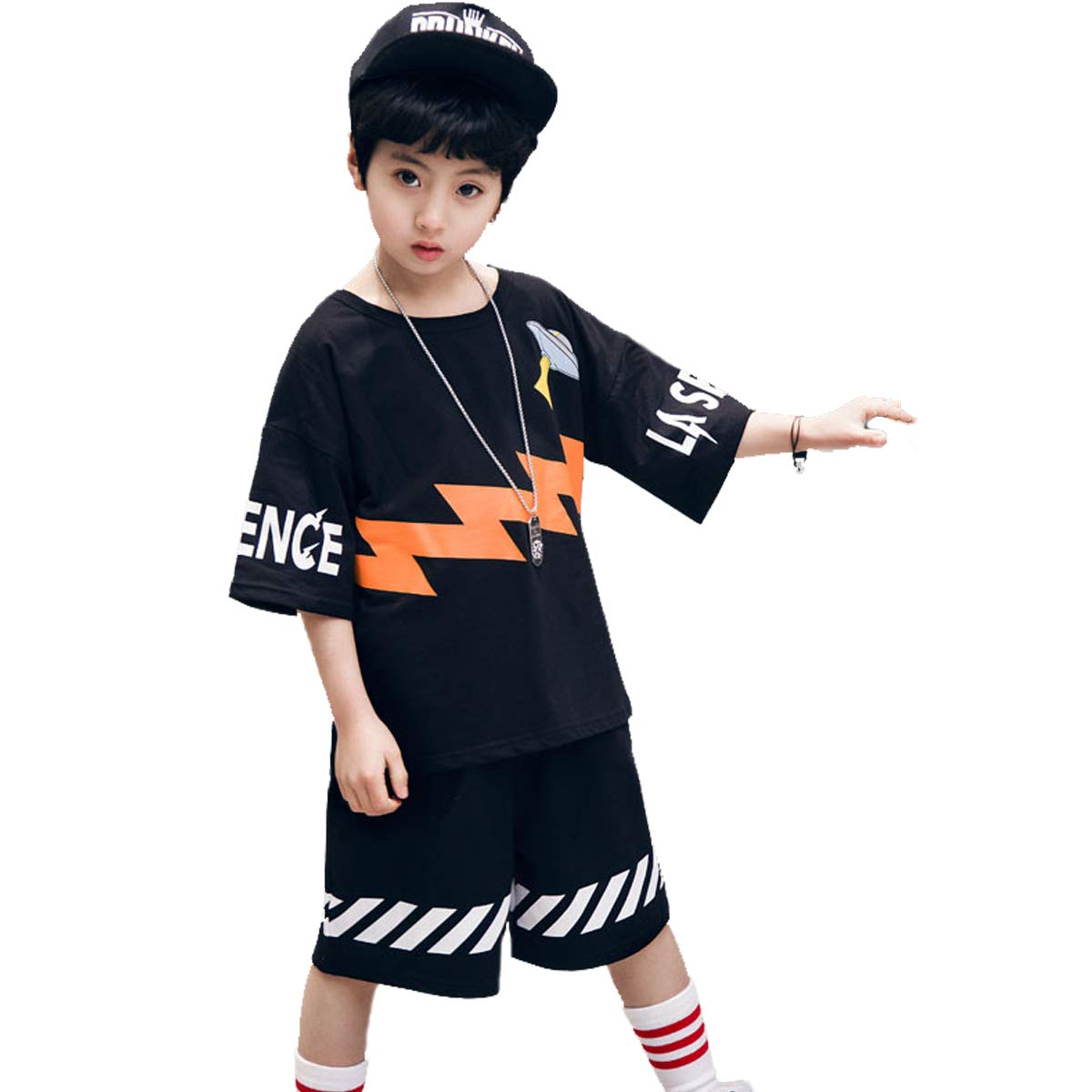 NABER Kids Boys Cool Hip-hop Dance T-Shirt /& Shorts Set Outfit Age 5-14 Years