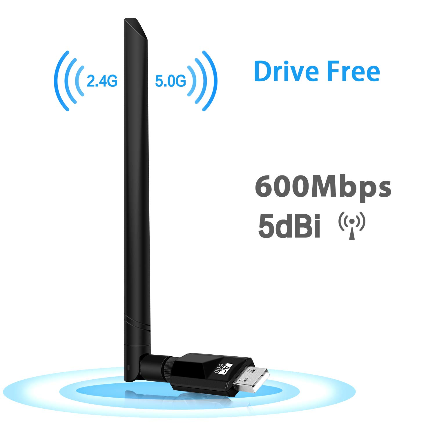 600Mbps USB WiFi Driver Free Adapter, Upow Wireless Network Adapter USB Wi-Fi Dongle Adapter with 5dBi Rotating Antenna AC600 Dual Band 5Ghz 433Mbps 2.4GHz 150Mbps Automatic Installation without CD-Rom Support Windows XP/ Win7/ 8/ 8.1/ 10/ Linux Mac OS