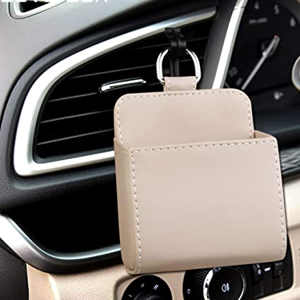 Black Hanging Leather Tidy Storage Coin Key Case Sunglasses Organizer with Hook HerMia Car Air Vent Cell Phone Holder Car Mount Phone Holder Pocket Organizer