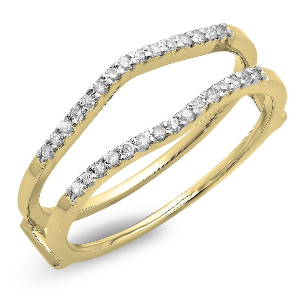Dazzlingrock Collection 0.18 Carat (ctw) 14K Round Diamond Ladies Wedding Enhancer Double Ring, Yellow Gold, Size 7 by Dazzlingrock Collection