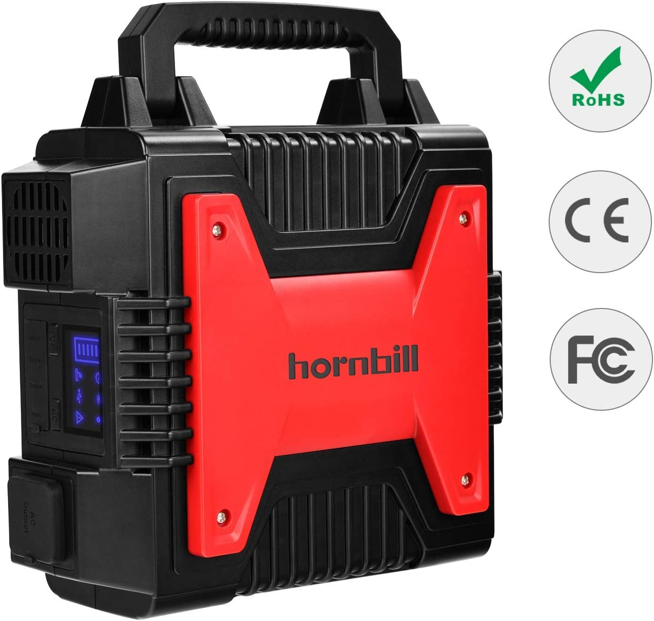 Portable Power Station 266WH, Hornbill Camping Generator 80000mAh,150W Power Supply Solar Generator with 2 110V AC Outlet, 1 DC ports, 2 USB Outputs,1 Cigarette ocket, LED Display for Camping