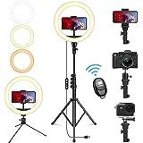 Lardod 10-Inch Selfie Ring Light with 2 Tripod Stands for Phone, Go pro for Youtube&Tiktok Live Stream, Makeup, Selfie…