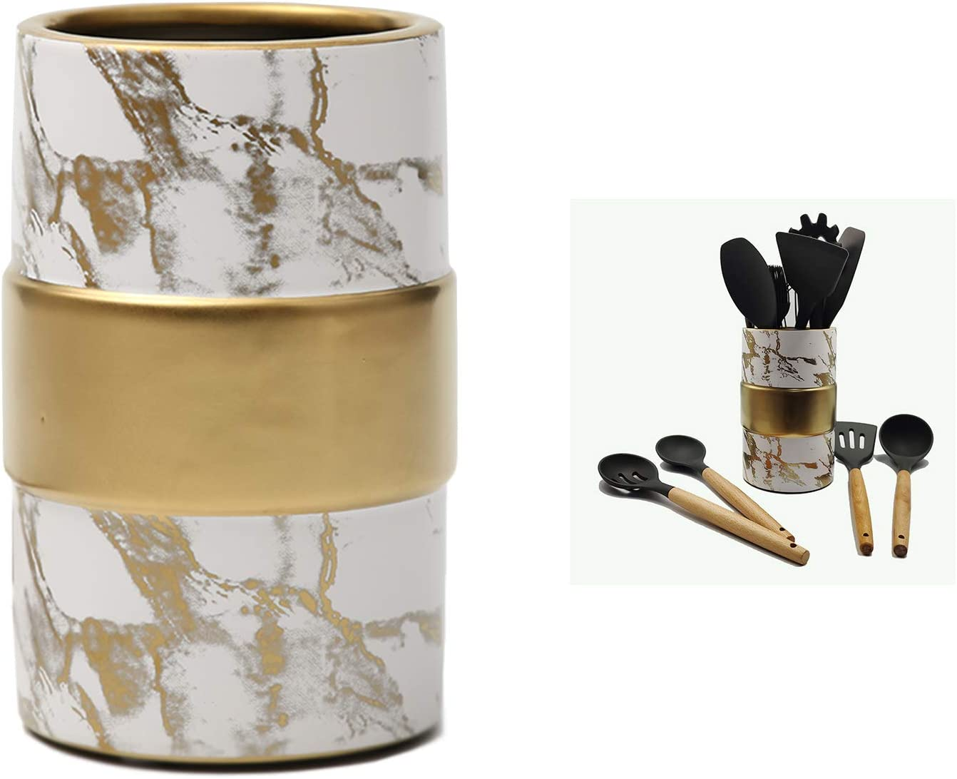 Aezek Kitchen Utensil Holder, Large Ceramic Utensils Crock, for Cooking Countertop, Utensil Holder for Wedding/Birthday/Housewarming Gift,Deep and Stable, Easy to Clean