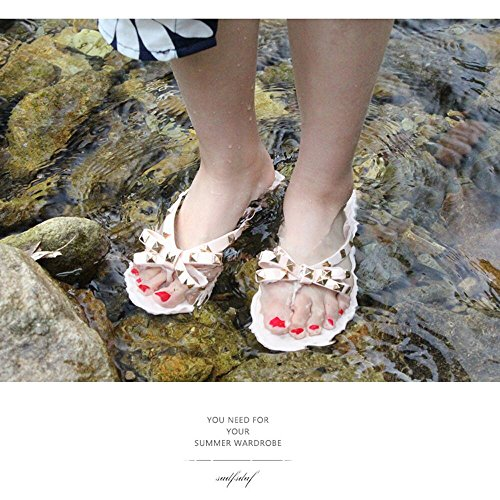 Beach Rivet Sandals Nude Slip Shoes Bow Flops Stud Thong Wilsony Jelly Flat Women Flip On TwUn8CfIq