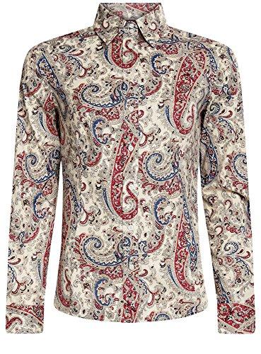 oodji Collection Mujer Camisa de Algodón con Estampado Paisley Marfil (3045E)