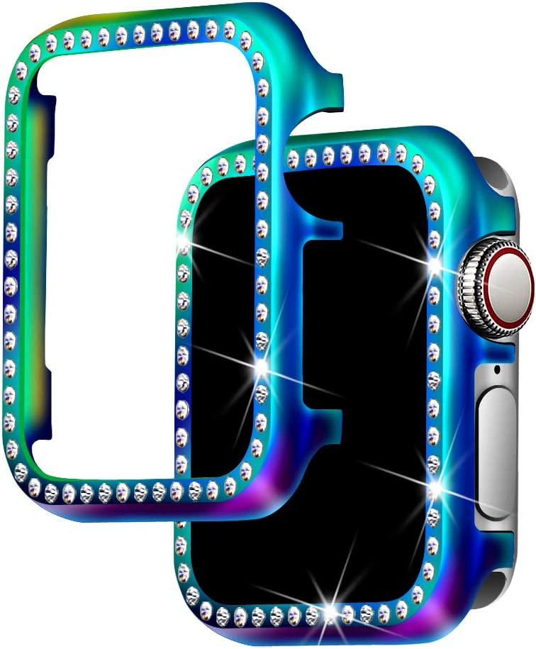 for Apple Watch Case 38mm, Falandi Colorful Metal Apple Watch Face Case with Bling Crystal Diamonds Plate Cover Protective Frame for iWatch Series 5/4/3/2/1 (Colorful-Diamond, 38mm)
