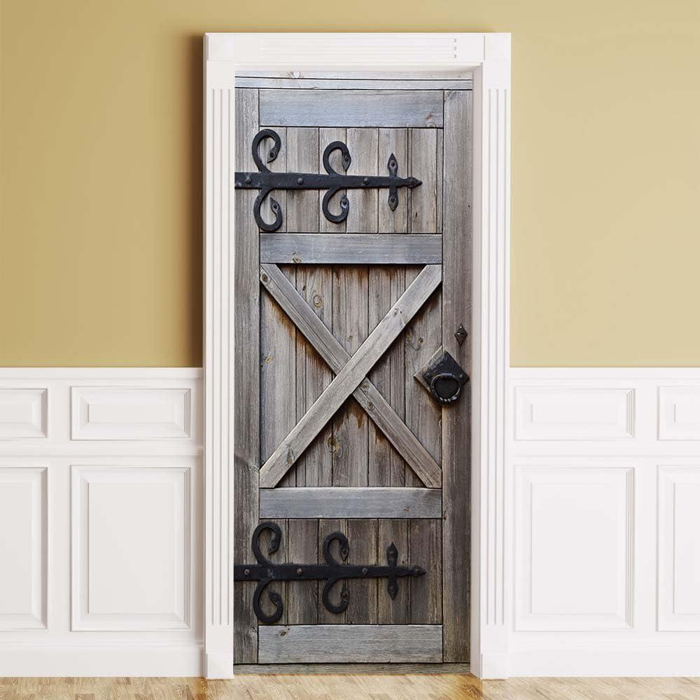 "WonderlandWalls ONE Piece Sticker for Door/Wall/Fridge - Country Barn Door. Peel & Stick Removable Mural, Decole, Skin, Wrap, Decal, Cover, Poster. All Door Sizes! (Right knob, 36""x80"")"