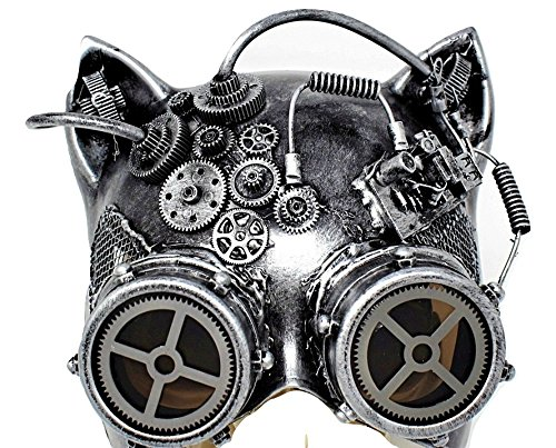 Paradise Treasures Steampunk Cat Mask Mechanical Half Cat Woman Skull Face Mask Gears and Goggle Costume Cosplay Halloween (Silver)]()