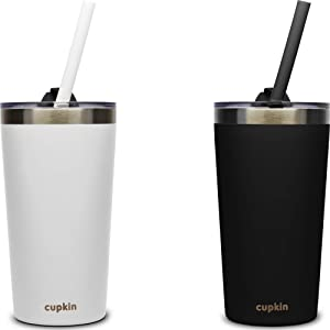 Stackable Stainless Steel Kid Cups for Toddlers (EASY to Clean) - Set of 2 Powder Coated Vacuum Insulated Modern Tumblers, 2 Non BPA Lids & 2 Food Grade Reusable Silicone Straws (Black + White 12 OZ)
