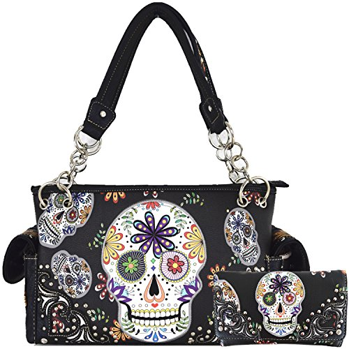 Sugar Skull Day of the Dead Halloween Purse Concealed Carry Handbag Women's Shoulder Bag Wallet Set Black -