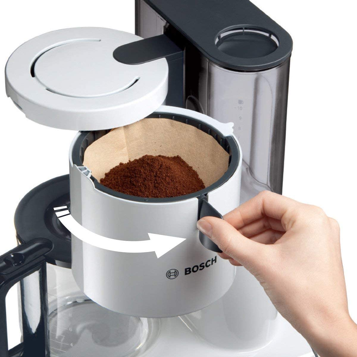 pl/ástico 1160 W Blanco//Plata 14 Cups Bosch Styline Cafetera de filtro