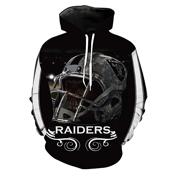 super popular 171b0 94c06 Men's Long Sleeve Hooded 3D Print Oakland Raiders Football Team Pullover  Hoodies