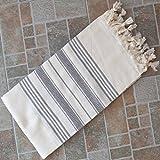 Natural & Gray Turkish Towel Peshtemal - 100% Natural Dyed Cotton - for Beach Spa Bath Swimming Pool Hammam Sauna Yoga Pilates Fitness Gym Picnic Blanket (Dandelion Textile)