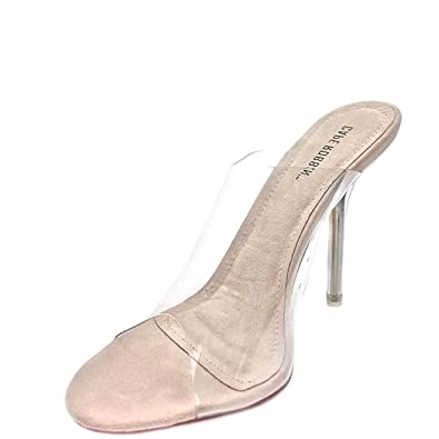1d6e4f5ad9 Amazon.com | CAPE ROBBIN Allure Nude Clear Transparent Glass PVC Mule Open  Toe Stiletto Pump Clear Transparent (5.5) | Pumps