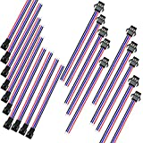 RAYSUN 10 Pairs (Male & Female) 15CM 3 Pin JST SMP & SMR Wire Connector for RC Lipo Battery / LED Lights - 24 AWG Silicone Cord
