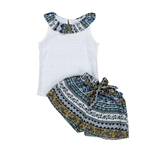 7dce1beb899 G-real Ethnic Outfits Toddler Baby Girls Kid Lotus Ruffle T-Shirt Vest+