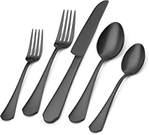 Bettlife Silverware Set,20-Piece Stainless Steel Satin Finish Flatware Set,Includes Knives/Forks/Spoons,Tableware Cutlery Set for Home and Restaurant,Dishwasher Safe … (Matte Black, 20 P)