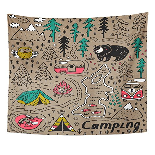 Grizzly Sewing Patterns - VaryHome Tapestry Camp Funny Map with Nature Landscape Camping and Cute Animals in the Forest Fox Adventure Home Decor Wall Hanging for Living Room Bedroom Dorm 50x60 Inches