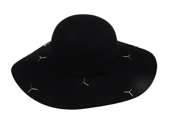 53b8b8e60ca Dantiya Women s Fedora Hat Wide Brim 100% Wool Warm Floppy Hat Sequins Felt  Hat at Amazon Women s Clothing store