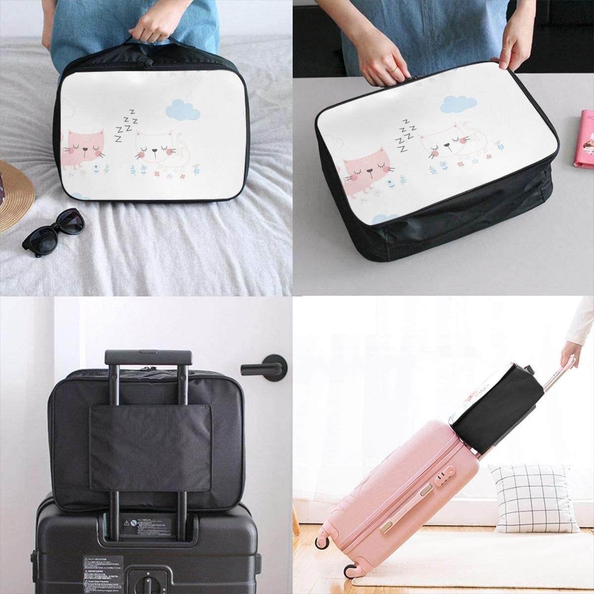 Yunshm White Kitten And Pink Kitten Are Sleeping Customized Trolley Handbag Waterproof Unisex Large Capacity For Business Travel Storage