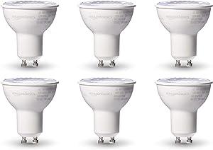 AmazonBasics 50W Equivalent, 3000K White, Dimmable, 10,000 Hour Lifetime, MR16 (GU10 base) LED Light Bulb   6-Pack
