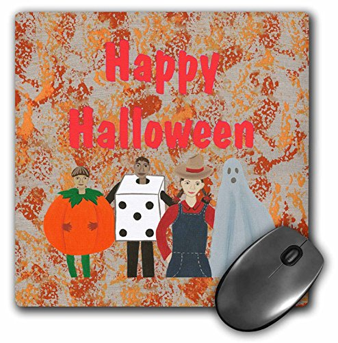 3dRose CherylsArt Holidays Halloween - Happy Halloween Costume Party Painting Abstract - MousePad -