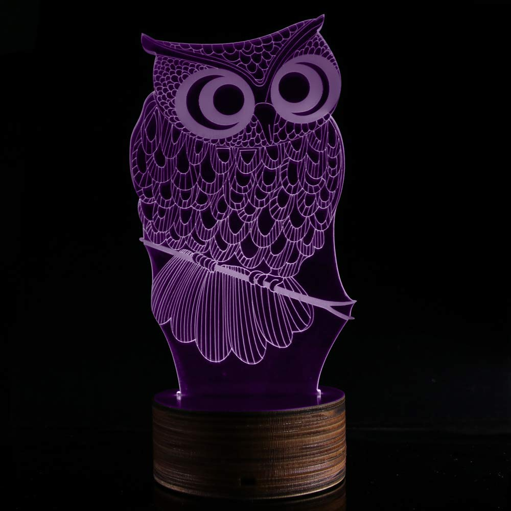 Novelty Lamp, 3D LED Lamp Optical Illusion Owl Night Light, USB Powered Remote Control Changes The Color of The Light, Furniture Desk Lamp Home Decoration Toy,Ambient Light by LIX-XYD (Image #9)