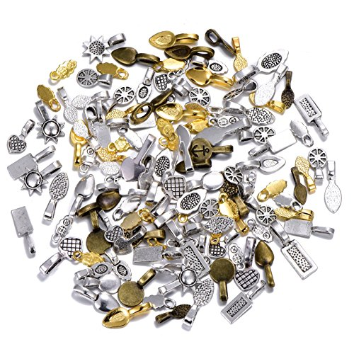 100pcs Mix Color Style Spoon Glue on Bail for Earring Bails or Scrabble and Glass Pendants Charms Connector - Bezel Heart Mm 6